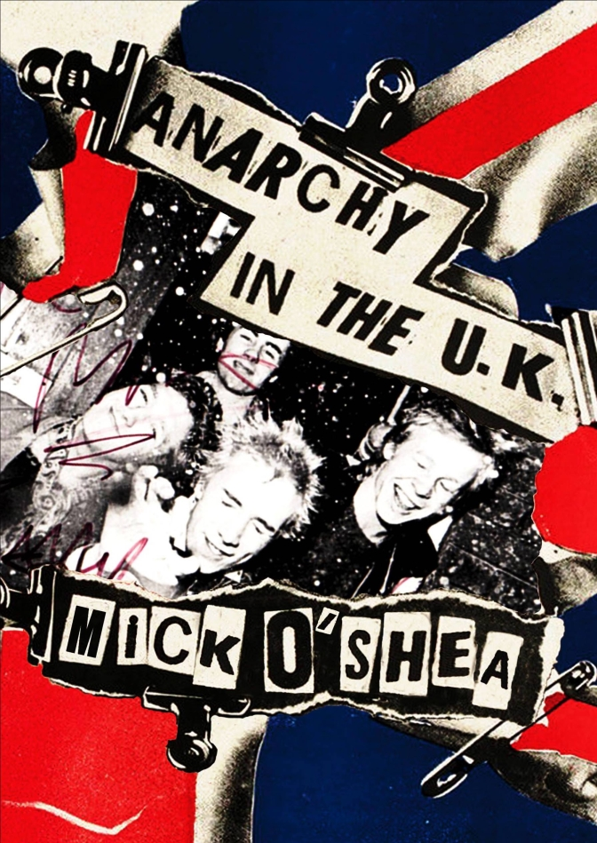 Book cover, photo of The Sex Pistols and Union Jack, text graphics