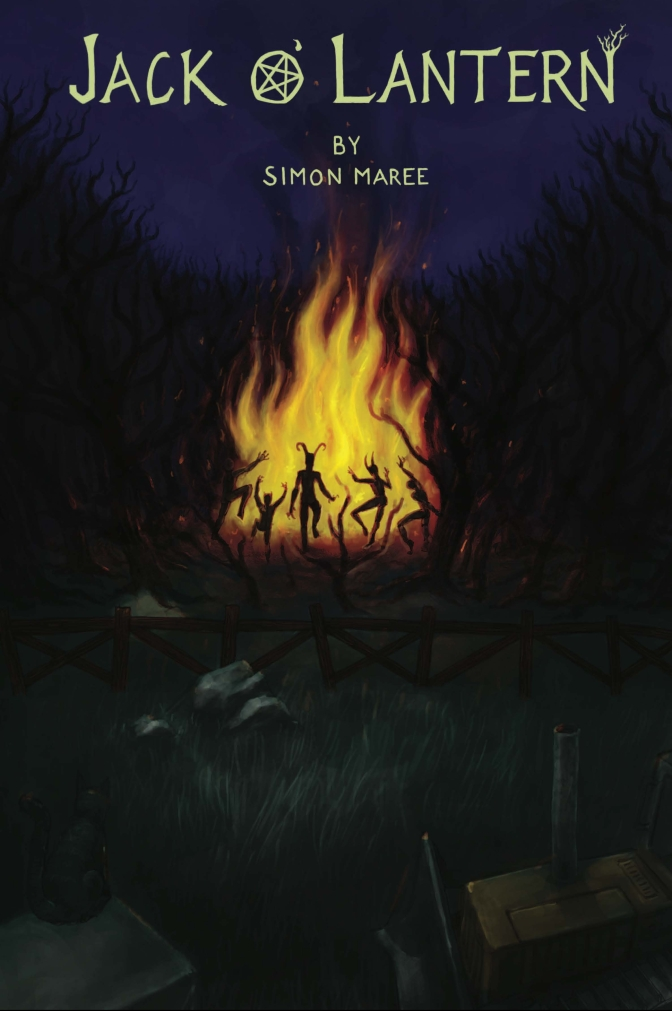 book cover illustration, strange creatures dancing at night around a large bonfire, in the woods