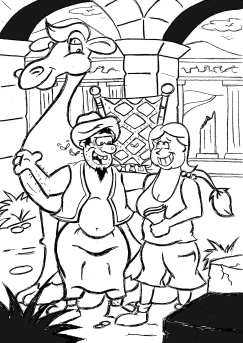 cartoon of two people and a camel